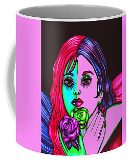 Abstract Neon Rose Fairy Coffee Mug