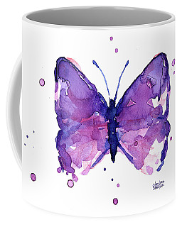 Abstract Purple Butterfly Watercolor Coffee Mug