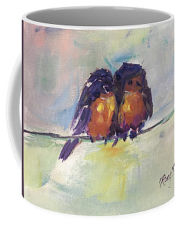 Abstract Robins On A Wire Coffee Mug