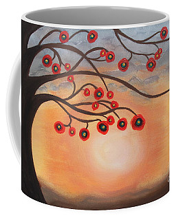 Coffee Mug featuring the painting Abstract Sunset by Jolanta Anna Karolska