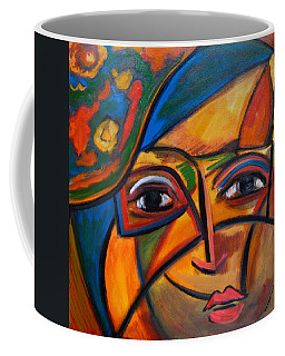 Abstract Woman With Flower Hat Coffee Mug