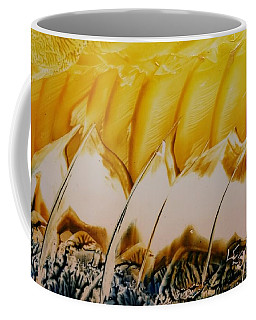 Abstract Yellow, White Waves And Sails Coffee Mug