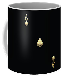 Ace Of Spades In Gold On Black   Coffee Mug