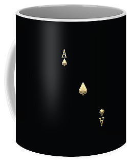 Ace Of Spades In Gold On Black   Coffee Mug by Serge Averbukh