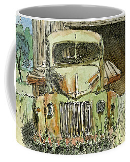 Coffee Mug featuring the painting Aceo No 4 Old Ford Truck And Barn Wc by David King