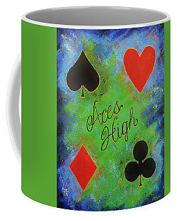 Coffee Mug featuring the painting Aces High by Margaret Bobb