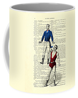 Circus Acrobats In Red And Blue Dictionary Art Print Coffee Mug