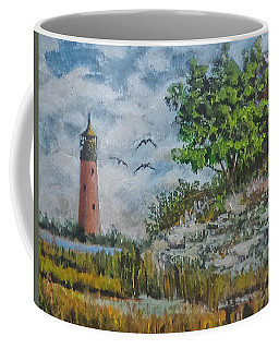 Coffee Mug featuring the painting Across The Bay by Jim Phillips