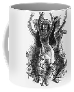 Coffee Mug featuring the drawing Action Song Dancers With Fish Pareu by Judith Kunzle