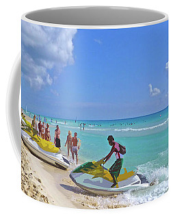 Coffee Mug featuring the digital art Active Beach M3 by Francesca Mackenney