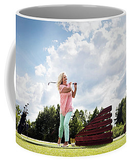 Active Senior Woman Playing Golf. Coffee Mug