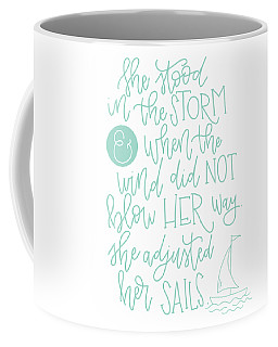 Coffee Mug featuring the mixed media Adjusted Her Sails by Nancy Ingersoll