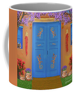 Adobe Blue Door Coffee Mug by Walter Colvin