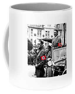 Adolf Hitler Giving The Nazi Salute From A Mercedes #3 C. 1934-2015 Coffee Mug