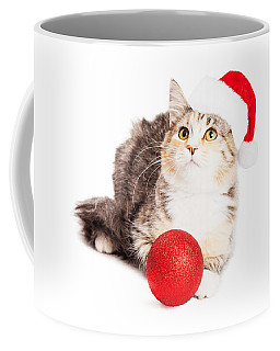 Adorable Calico Christmas Kitten Coffee Mug