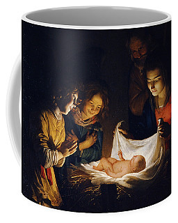 Coffee Mug featuring the painting Adoration Of The Child by Gerrit van Honthorst