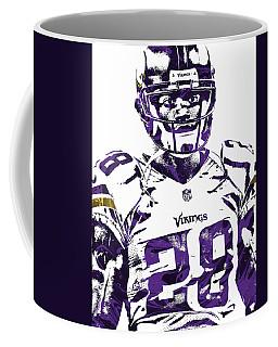 Coffee Mug featuring the mixed media Adrian Peterson Minnesota Vikings Pixel Art 2 by Joe Hamilton