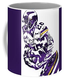 Coffee Mug featuring the mixed media Adrian Peterson Minnesota Vikings Pixel Art by Joe Hamilton
