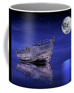 Coffee Mug featuring the photograph Adrift In The Moonlight - Old Fishing Boat by Gill Billington