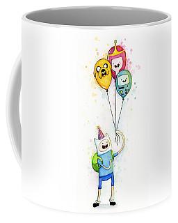 Adventure Time Finn With Birthday Balloons Jake Princess Bubblegum Bmo Coffee Mug