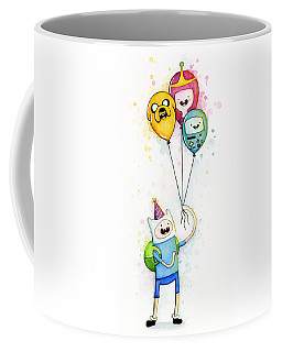 Adventure Time Finn With Birthday Balloons Jake Princess Bubblegum Bmo Coffee Mug