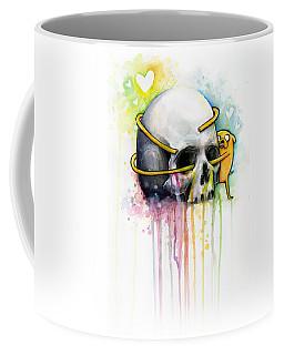 Adventure Time Jake Hugging Skull Watercolor Art Coffee Mug