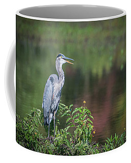 Coffee Mug featuring the photograph Advice From A Great Blue Heron by Cindy Lark Hartman