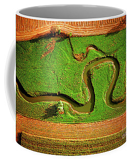 Aerial Farm Stream Coffee Mug