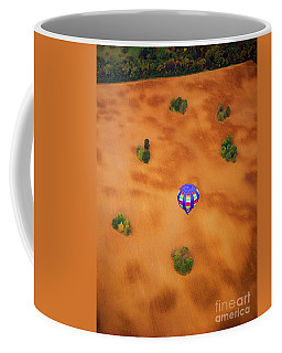 Aerial Of Hot Air Balloon Above Tilled Field Fall Coffee Mug