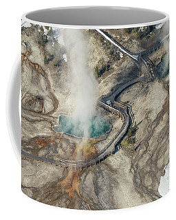 Aerial Photo Of Black Pool And Abyss Pool At West Thumb Gesyer Basin Coffee Mug