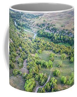 aerial view of Dismal River in Nebraska Sandhills Coffee Mug