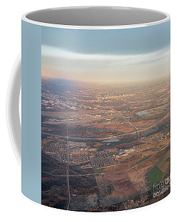 Coffee Mug featuring the photograph Aerial View Of Downtown Austin From Plane About To Land by PorqueNo Studios
