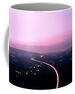 Aerial View Of Highway At Dusk Coffee Mug