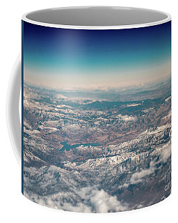 Coffee Mug featuring the photograph Aerial View Of Large Lake In Between Snowed Peaked Mountains by PorqueNo Studios