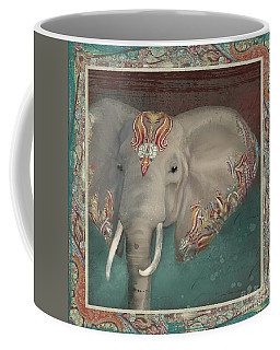Coffee Mug featuring the painting African Bull Elephant - Kashmir Paisley Tribal Pattern Safari Home Decor by Audrey Jeanne Roberts