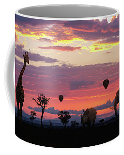 African Safari Colorful Sunrise With Animals Coffee Mug