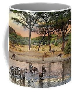 African Safari Wildlife At The Waterhole Coffee Mug