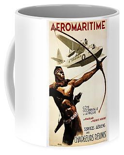 African Tribal Archer - Vintage Travel Poster By Aeromaritime - Dakar, Africa Coffee Mug