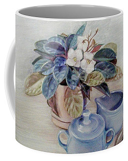Coffee Mug featuring the pastel African Violet Still Life by Martha Ayotte