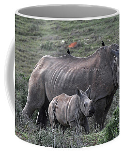 African White Rhino And Calf Coffee Mug