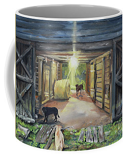 Coffee Mug featuring the painting After Hours In Pa's Barn - Barn Lights - Labs by Jan Dappen