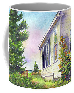 Coffee Mug featuring the painting After School Activities At Monhegan School House by Susan Herbst