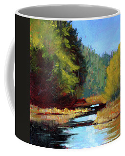 Coffee Mug featuring the painting Afternoon On The River by Nancy Merkle
