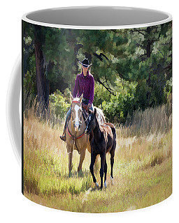 Afternoon Ride In The Sun - Cowgirl Riding Palomino Horse With Foal Coffee Mug