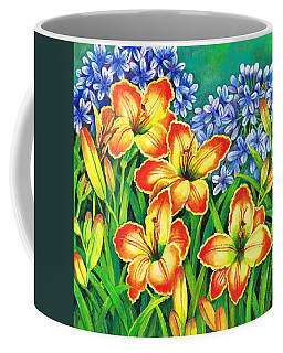 Coffee Mug featuring the painting Agapanthus And Lillies by Val Stokes