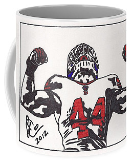 Coffee Mug featuring the drawing Ahmad Bradshaw by Jeremiah Colley