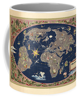 Air France - Illustrated Map Of The Air Routes By Lucien Boucher - Historical Map Of The World Coffee Mug