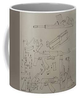 Coffee Mug featuring the drawing Ak-47 - Pulled Apart by Mudiama Kammoh