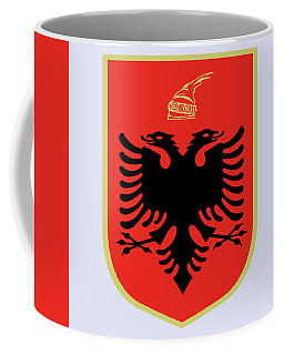 Coffee Mug featuring the drawing Albania Coat Of Arms by Movie Poster Prints