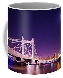Coffee Mug featuring the photograph Albert Bridge Moon London  by Mariusz Czajkowski